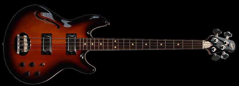 Lakland Skyline Hollowbody 4 String Bass, Two-Tone Sunburst, Rosewood Fingerboard
