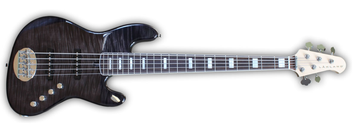 Lakland US Series 55-AJ Charcoal Translucent with Pearl Blocks and binding option