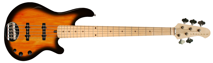 Lakland Classic Series 55-Dual J with Tobacco Sunburst 5 string electric bass guitar