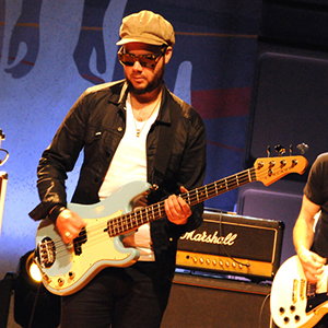 Branden Campbell plays a Lakland USA Series Decade bass