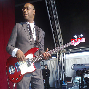 Dale Davis plays a Lakland Skyline Series Decade four string bass