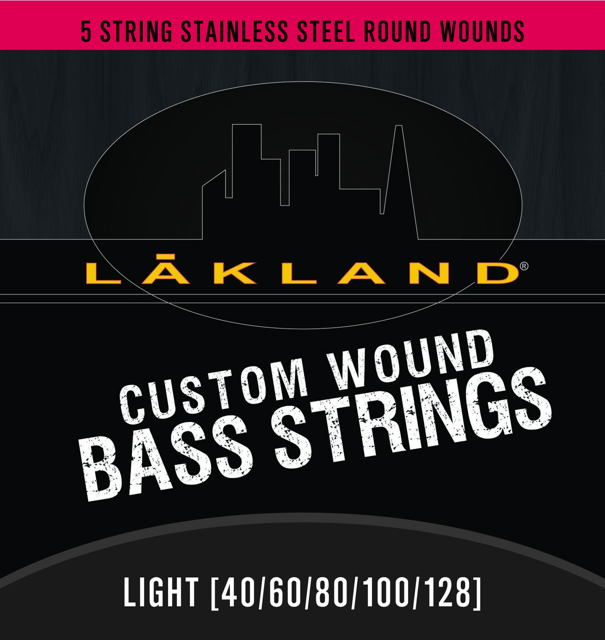 5 String Stainless Steel Round Wound Bass Strings Light Gauge